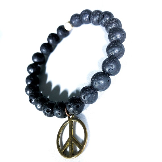 Hearts for Humanity: Peace Black Lava Stone Oil Diffuser Beaded Charm Bracelet, Aroma Therapy, Mala, Yoga, Meditation, Unisex, Men, Women