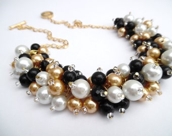 Black White Gold Pearl Necklace, Black Wedding Jewelry, Bridesmaids Cluster Necklace, Chunky Necklace, Bridesmaids Gift, Black Pearls