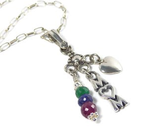 Mom Pendant Gemstone Necklace, Gift for Mom Beaded Pendant Necklace,  Emerald, Ruby, Sapphire Necklace, Precious Gemstone Necklace,