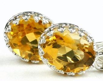 Citrine, 925 Sterling Silver Crown Bezel Leverback Earrings, SE109