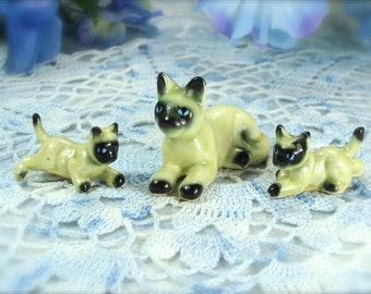 Miniature Family of Siamese Cats Vintage Porcelain Figurines