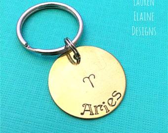 Zodiac Sign Keychain- Hand Stamped Charm- Aries Taurus Gemini Cancer Leo Virgo Libra Scorpio Sagittarius Capricorn Aquarius Pisces