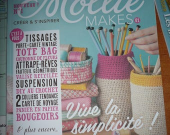 Magazine: Mollie makes n. 1 Diy magazine, Weaving, recovery, sewing, crochet, knitting - creative paper - printed paper sheets, NEW