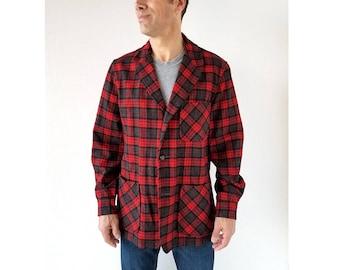 Pendleton Men's Jacket | 1960s Jacket | Red Plaid Jacket | M L