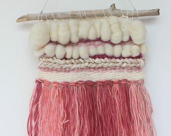 woven wall hanging,pink cream textile weave,Mother's Day gift,wall art,small pink cream roving decoration, nursery decor, boho tapestry