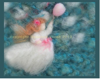 """Printed Note Card - """"Girl in Pursuit"""" -image from wool painting"""
