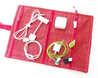 Travel Accessory  Zippered Storage Bag  see thru mesh or fabric Organizer for tech accessories chargers cords jump drives