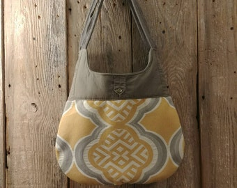Cargo pants and yellow upholstery sample upcycled tote