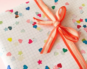 Wrapping Paper Hearts & Stars Confetti - 2 sheets - party pattern