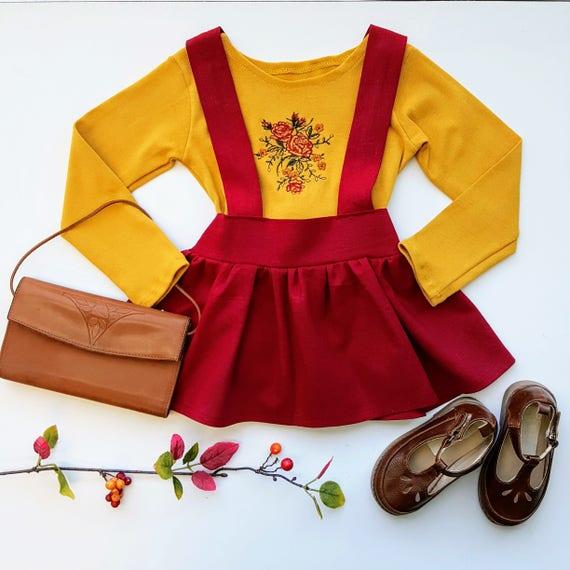 Burgundy Fiona Linen High Waist Suspender Skirt