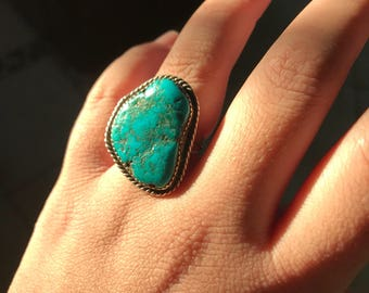 Turquoise sterling silver statement ring size 8.5