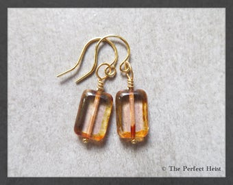 Earrings, Gold, Wire Wrapped, Brown, Earth Tones