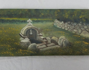Marazzi Ceramiche Made in Italy Hand Painted Vintage Tile Grave Tomb Cemetery
