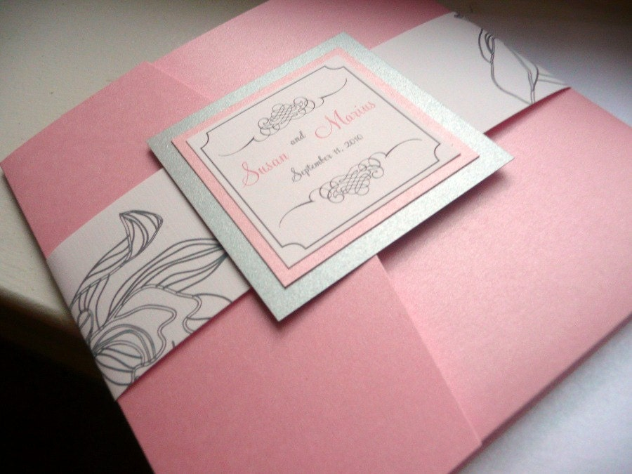 Pink and Silver Wedding Invitation Silver Pink Silver