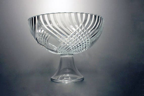 Pedestal Compote, Libbey Glass Company, Clear Glass, Swirl and Diamond Design, Centerpiece