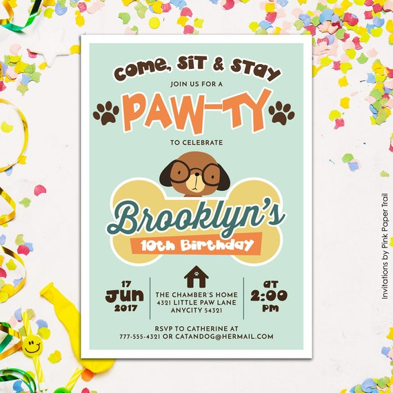 Cute Puppy Dog Birthday Party Invitation Puppy PawTy
