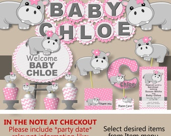 Hippo Baby Shower Decorations Or Hippo Birthday Party Supplies    Invitation, Banner, Cake Topper