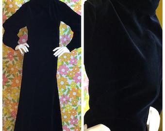 SALE! 60s 70s Vintage Black Velvet Wide Leg Jumpsuit XL Plus