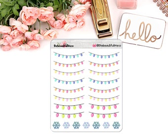 Christmas Lights - pink, blue & yellow Stickers / Planner Stickers