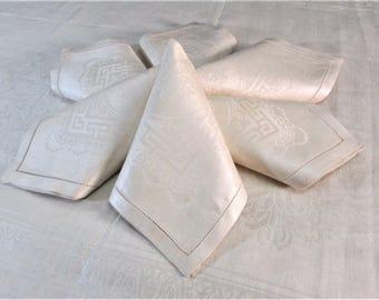 "Antique Damask Tablecloth Table Cloth Napkins Rectangle Table Linens Ivory Off White Irish Linen 60"" X 90"" inch Art Nouveau Vintage Linens"