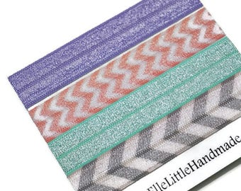 Sewn Hair Ties, Purple, Aqua, Gray, Peach Chevron, Pastel Hair Bands, Ponytail Holders, Fold Over Elastic, Hair Elastics, Blond and Brunette