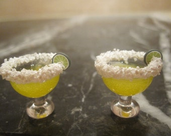 "1""  Miniature Margarita Glass Earrings with tiny salt and tiny lime wedge Cinco de Mayo"