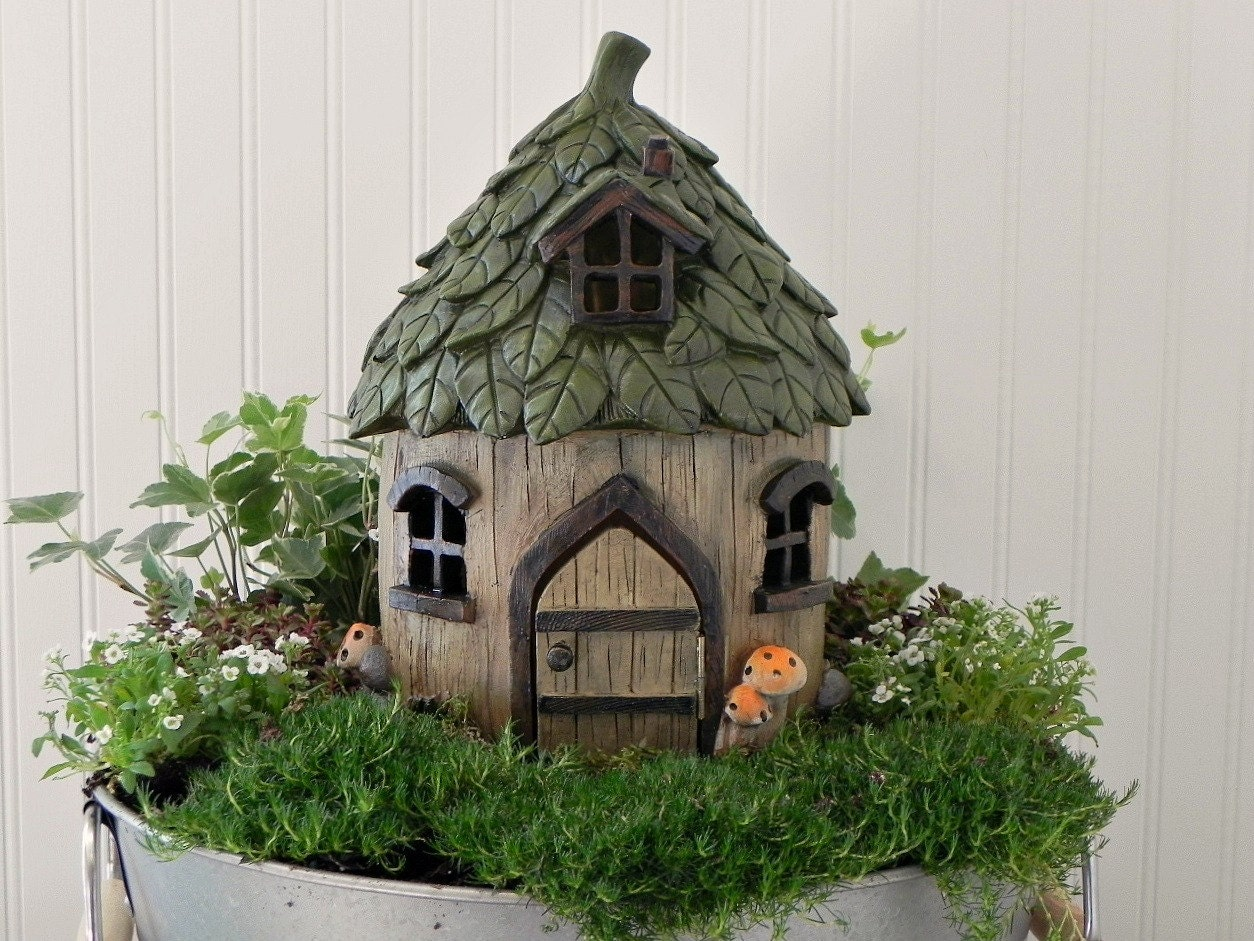 Fairy House Cottage Large Fairy Garden Leaf Style Roof