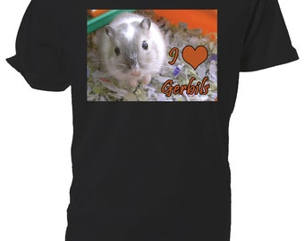 I Love Gerbils T shirt. classic round neck short sleeved choice of sizes and colours,