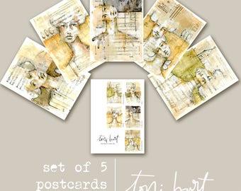 "quirky girls art postcard set - by Toni Burt -  large 5x7"" thick cardstock matte finish - set of 5 mixed media art, sister girlfriend gift"