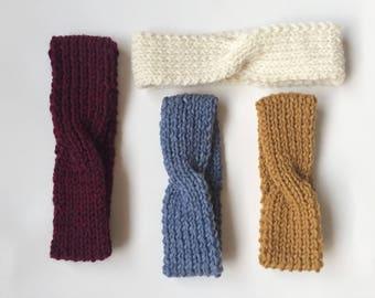 Knitted Baby Headband/ Newborn Twist Headband/ Knit Turban/ Baby Ear Warmer Knitted/ Mustard Baby Headband/ Cream Knit Headband/ Blue Knit