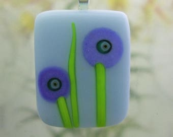 Glacier Blue Glass Bitty Blooms Pendant- Fused Glass Jewelry Handmade in North Carolina