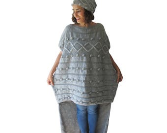 NEW! Pop Corn Hand Knitted Sweater Dress & Hat Set - Short in Front Long in Back