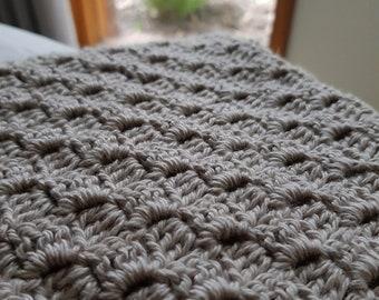 Crocheted cotton baby blanket, nursery blanket, travel blanket, baby shower gift, crochet afghan