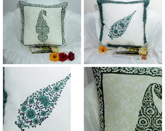 Cushion/Throw Pillow case covers,Block print soft Cotton,floral,16 x 16 inches.green,teal,paisley,Blue,white,accent cushion,floor pillow .