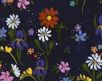 Reproduction ACEO Floral Tapestry on Navy Blue