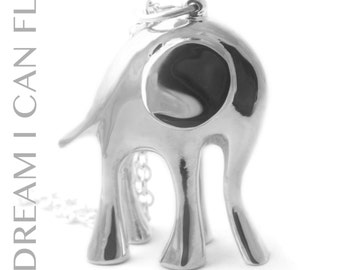 Elephant necklace in polished sterling silver