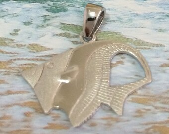 Angel Fish Pendant, Hawaiian Jewelry, Sterling Silver Angel Fish Pendant Necklace, N6125 Mother's Day Gift