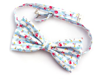 Floral bow tie, Bow tie, men bow tie, blue bow tie, Wedding bow tie, Floral bow tie, pre-tied men bow tie, white bow tie, floral bowtie