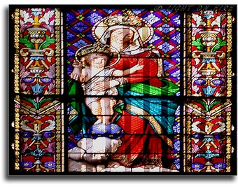 Religious stained glass, Religious Artwork. Stained Glass Window of Jesus and Marie. Scriptural art. Instant digital download photography.