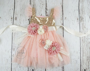 flower girl dress, blush flower girl dress, flower girl dresses, birthday dress, sequin flower girl dress, baby girl dress, dusty rose
