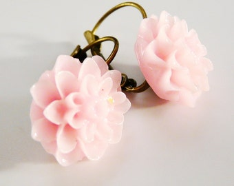 Pink Flower Earrings Leverback Earrings with a light pink resin Dahlia Flower Closed Earrings