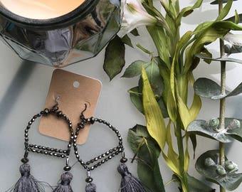 Beaded Tassel Earrings, Chandelier Earrings, Statement Earrings, Tassel Earrings, Handmade Earrings, Large Statement Earrings
