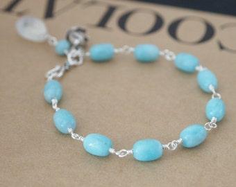 Peruvian Amazonite Blue Fire Moonstone Bali Silver Rose Sterling Silver Bracelet