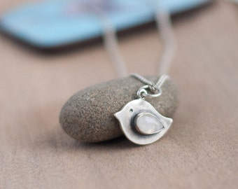 Silver Bird Pendant, Bird Jewelry, Bird necklace for moms, Moonstone Bird Necklace, Bird charm, Moonstone pendant