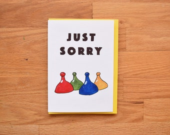 Funny sorry card, sorry card for best friend, funny apology card, sorry boardgame card,I'm sorry card,card for girlfriend,card for boyfriend