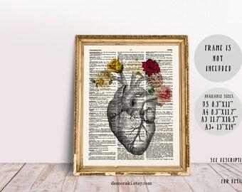 Human Anatomy Poster, Anatomical Heart, Gift for Doctor, Anatomy Heart Print, Medical Anatomy Art, Flowers, Home Decor