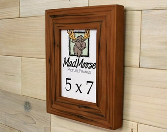 """5x7 Reclaimed Redwood [Chunky x 2""""] Picture Frame"""
