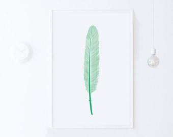 Mint Green Wall Art Print, Simple Art,  Digital Print Download, Feathers Art,  Printable Art, Nursery Feathers Print, Mint Green Nursery Art