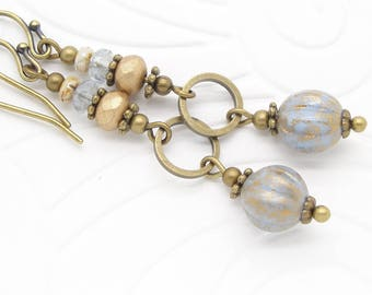 Long Blue Boho Earrings with Rustic Denim and Gold Glass Beads