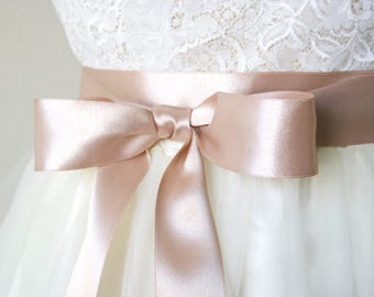Rose Gold Wedding Sash - Rose Gold Bridal Belt, Satin Ribbon Belt, Bridal Sash, Ribbon Sash, Bridesmaid Sash, Flower Girl Sash, 1.5 Inch